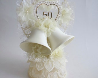 50th Wedding Anniversary Cake Topper..Just right for the Golden Anniversary!