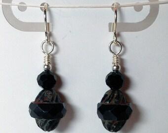 Black Turbine Czech Earrings, Black Earrings, Black Czech Glass Earrings