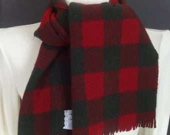 Long Wool Scarf-Pendleton Red Green Checks-Plaid-Fringe