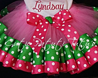 Birthday Ribbon Tutu Skirt Pink And Lime Green; 1st,2nd,3rd,4th,5th Birthday Available And Up