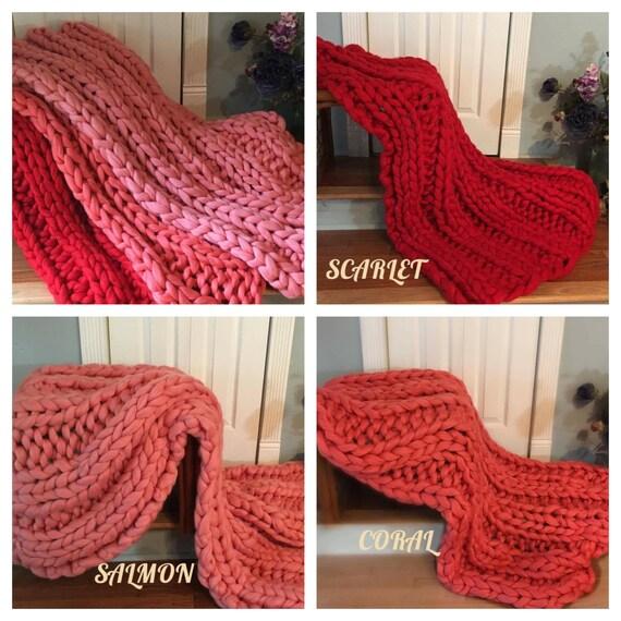 Super Chunky Blanket, 30x50 Pure Merino Wool, knit blanket, chunky throw,