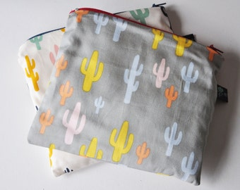 Cactus Pouch, hand sewn cactus fabric, jewellery purse, cosmetic purse, coin purse, fully lined, stocking filler