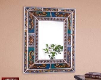 Reverse Painted Glass Wood Wall Mirror, 'Bright Sky' - Peruvian Ornate Mirrors- Home Wall Decor - Bathroom wall Mirrors - Peru Handicrafts