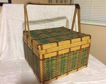 Vintage Bamboo, Woven Picnic Basket