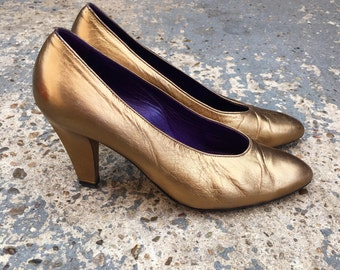 Bronze pumps / metallic heels / rose gold leather heels / 80s bronze metallic leather pumps with heel copper leather shoes UK 4 EU 37 US 6