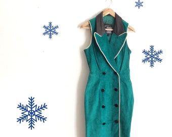 Green suade dress // vintage leather dress // green 80s dress // petite vintage // small fitted vintage dress // green black // 1980s style