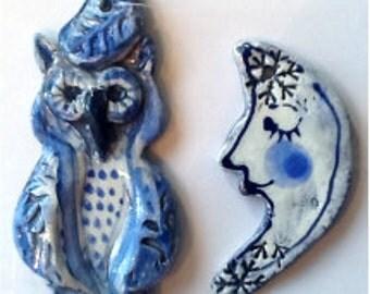 Owl & Moon Ornament #1