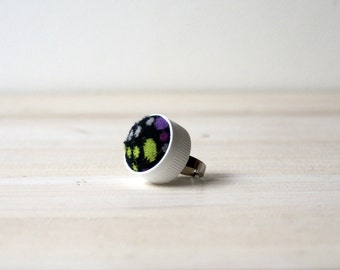 Recycled plastic eco friendly jewelry adjustable ring repurposed outer space