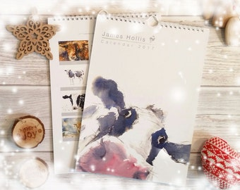 2018 Cow Calendar with cow cattle wildlife art animal art paintings by British artist James Hollis