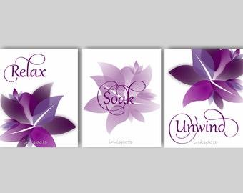 Relax Soak Unwind, Flower Bathroom, Bathroom Art, Bath Decor, Bathroom Wall Decor, Floral Bathroom Art, Flower Bathroom Art - BAFL01