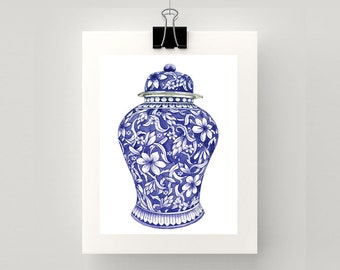 LARGE REPRODUCTION PRINT Blue and white flower ming watercolour print.