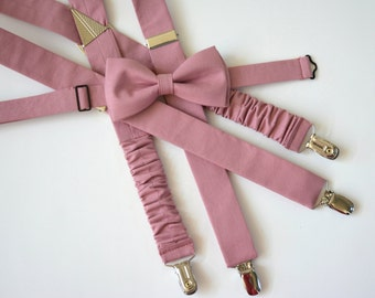 Blush bow tie and suspenders set, boys suspenders, boys bow ties,bow tie and suspenders set