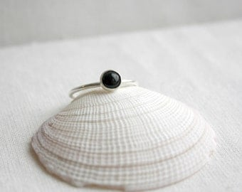 Black Onyx Stacking Ring, Gemstone Stacking Ring