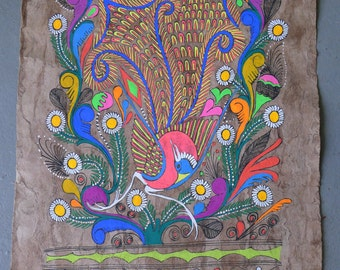 Vibrant Mexican folk art painting on handmade amate paper | Bird with pink breast