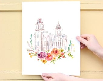 LDS Temple Watercolor (Manti), Manti Temple