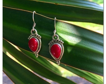 Red Coral Sterling Silver Drop Earrings