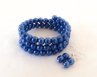 Blue Bridesmaid Jewelry Blue Bracelet Blue Jewelry Pearl Bracelet Bridesmaids Wedding