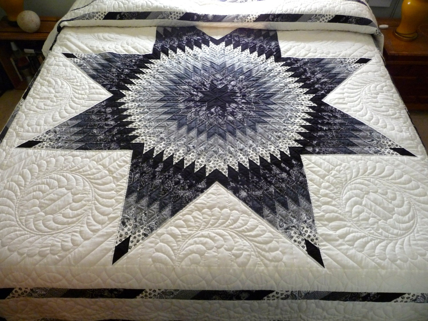 Amish Lone Star Quilt Black And White By Quiltsbyamishspirit