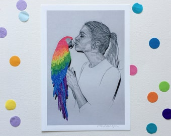 POLLY & PARROT / Signed print by Niki Pilkington