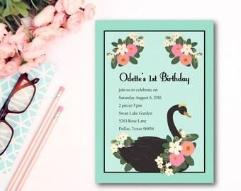 "Swan Birthday Invitation Set of 12 5""x7"""