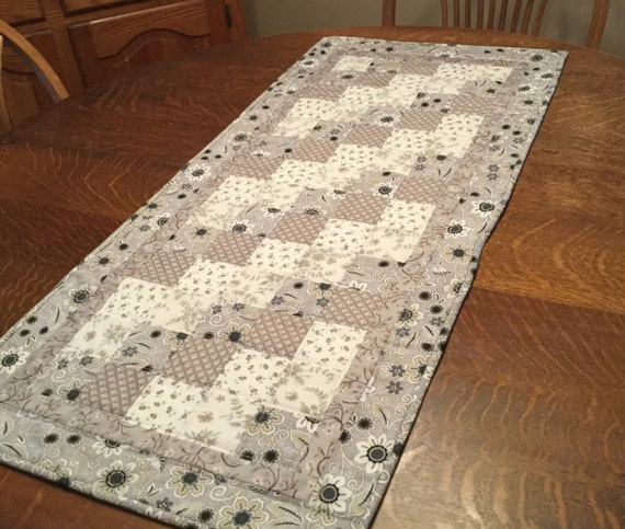 Quilted Table Runner, country table runner, patchwork runner, table runner, floral table runner