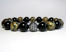 Mens Beaded Bracelet Agate and Onyx, Agate Bracelet, Onyx Bracelet, Micro Pave Bracelet, Beaded Bracelet, Stretch Bracelet