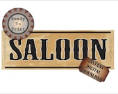 Saloon Banner Printable PDF 24 by 72 Inch Bachelor Party Sign Wild West Steampunk Country Western Wedding Bar Decor Aged Victorian Paper