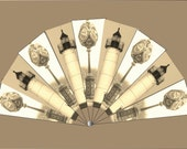 Victorian Fan Printable Historical Lighthouse Clock Post Aged Black White Sepia Photograph Steampunk DIY Costume Accessory Kit Craft Supply