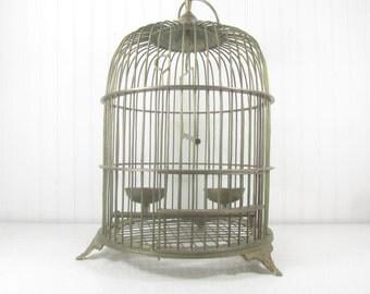 Vintage Brass Birdcage, shabby chic decor, bird cage, bird house, metal birdcage, wedding decor, cottage decor, wire birdcage,