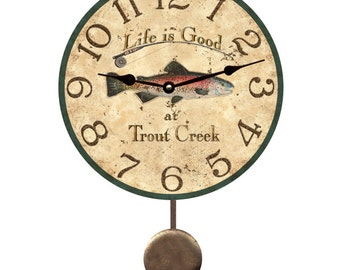 Trout Pendulum Clock- Personalized Trout Pendulum Wall Clock