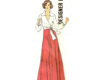 Wrap Top, Maxi Skirt & Wide Leg Pants - 1970's Vintage Simplicity Designer Fashions Sewing Pattern 6659 **Part.Cut/Size 18
