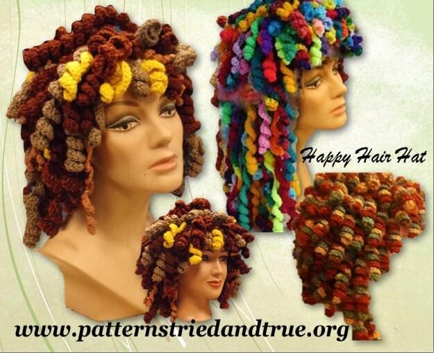 Crochet Hair Hat : Crochet Wig Happy Hair Hat Pattern Cancer by Patternstriedandtrue