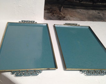 Mid Century Moire Kyes Turquoise and Gold Enamel Serving Trays Set of 2 Hollywood Regency Greek Key Design