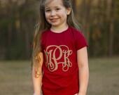 Glitter, Monogrammed, Kids, T-Shirt, Tee, Letters, Vinyl