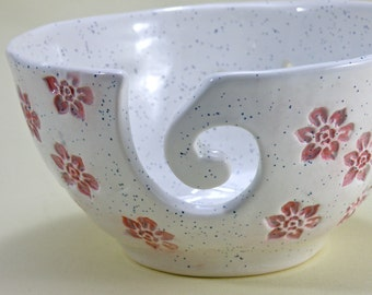 Large Knitting Bowl  flower Crochet Bowl Lead free Glaze large Yarn Bowl Made to order
