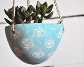 "Hanging Planter w/ Hand Carved Eye Design / Turquoise Blue ""Eye"" Sgraffito Hanging Succulent Pot / Cactus Planter / Organic"
