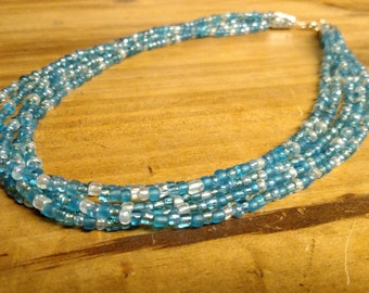 Multishade Blue seed bead Multistrand Necklace