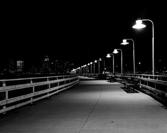 Pier 34 at night, in Hudson River Park, Manhattan, New York. | Photo Print, Stretched Canvas, or Metal Print.