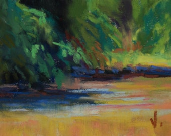 River Shadow - ACEO- Pastel - 2 1/2 x 3 1/2