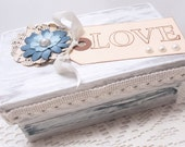 Love Gift Box - Keepsake Box - Wedding Gift - Pale Blue - Shabby Chic Box - Valentine's Day Gift - Natural Colored Accents- Handmade Flower