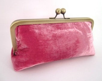 Pink Velvet Clutch Purse with Kiss-Lock Frame, 8-inch