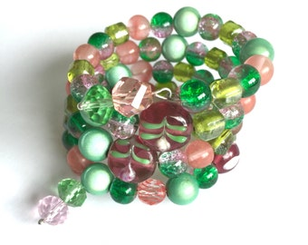 Memory wire bracelet, greens and pinks, lamp work beads, glass beads, Japanese miracle beads
