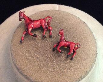 Vintage Burgandy-Brown Enameled Horse Scatter Pin Set