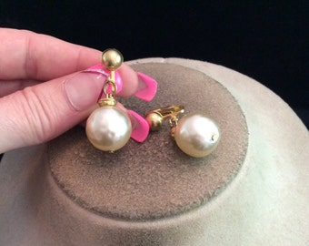 Vintage Goldtone Dangling Faux Pearl Clip On Earrings