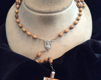 Vintage Religious Brown Wooden Beaded Silvertone Rosary