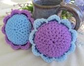 2 Scour Pad Flowers Nylon Scrubbie, Dish Pot Scrubber, Mesh Cleaning Sponge, Crochet Scrub, Kitchen, Bath, Laundry, MorningGlory collection