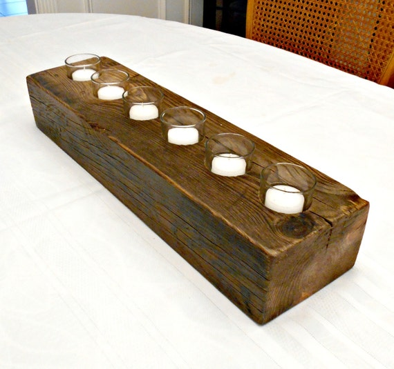 Rustic wood candle holder large centerpiece beefy