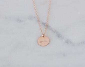 Rose Gold Arrow Necklace, Arrow Pendant Necklace, Rose Gold Fill Arrow Necklace, Gift for Her, Arrow Disc Necklace, Arrow Jewelry