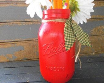 Distressed Mason Jar, Apple Mason Jar,Teacher Gift, Teacher, Red Jar, Apple, Hand Painted Mason Jar, Mason Jar Flower Vase, Flower Vase Jar