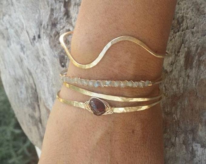 Gemstone Bracelet, Larbadorite,Stacking Bangle, Sterling Silver,or, 16K Gold Fill, Hammered bangle, Gold Bangle, Silver Bangle, Bracelet